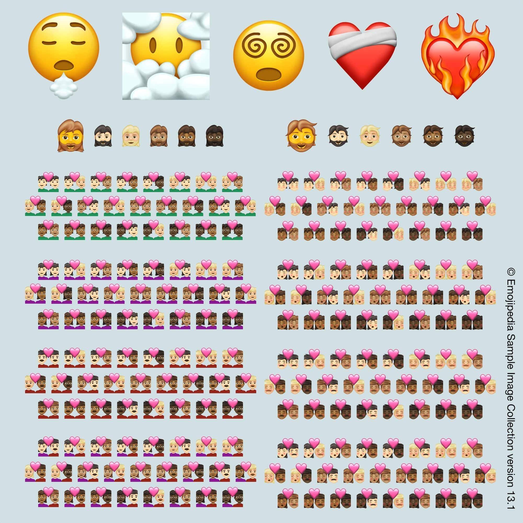 Kuva emojista, jotka tulevat vuonna 2021, kuva on lainattu Emojipedia.org (© Emojipedia).